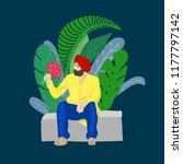 indian sikh man in turban wih... | Shutterstock .eps vector #1177797142