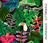 seamless pattern of tropical... | Shutterstock .eps vector #1177806412