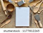 top view kitchenware blank book ...   Shutterstock . vector #1177812265