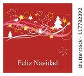 Christmas vector card or invitation for party with Merry Christmas wishes in espanol: Feliz Navidad. Classic illustration with red background, white and yellow stars, trees and hearts.