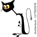 black cat halloween. silhouette ... | Shutterstock .eps vector #1177825078