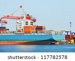container stack and ship under... | Shutterstock . vector #117782578