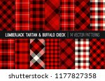 lumberjack tartan and buffalo... | Shutterstock .eps vector #1177827358