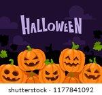 halloween pumpkin border. scary ... | Shutterstock .eps vector #1177841092