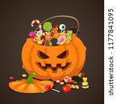 halloween candies in pumpkin... | Shutterstock .eps vector #1177841095