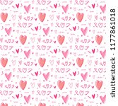 hand drawn cute heart pattern... | Shutterstock .eps vector #1177861018