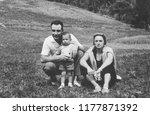 family portrait in 1960 | Shutterstock . vector #1177871392