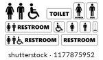 wc toilet day bathroom restroom ... | Shutterstock .eps vector #1177875952