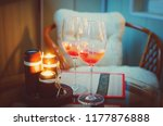two glass wine glasses with... | Shutterstock . vector #1177876888