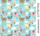 seamless  tileable llama and...   Shutterstock .eps vector #1177877932