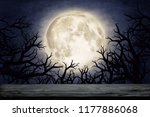 moon over dry tree silhouette.... | Shutterstock . vector #1177886068