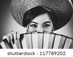 Young japanese woman with fan portrait. - stock photo
