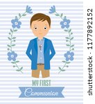 my first communion boy....   Shutterstock .eps vector #1177892152