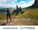 tourist friends on a top of... | Shutterstock . vector #1177920868