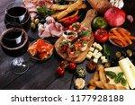 italian antipasti wine snacks... | Shutterstock . vector #1177928188