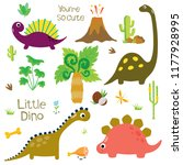 cute vector dinosaurs isolated... | Shutterstock .eps vector #1177928995