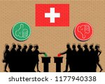 swiss voters crowd silhouette... | Shutterstock .eps vector #1177940338
