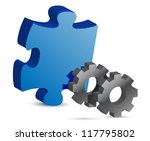 puzzle piece and gear... | Shutterstock . vector #117795802