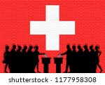 swiss voters crowd silhouette... | Shutterstock .eps vector #1177958308