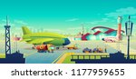 vector cartoon airport... | Shutterstock .eps vector #1177959655