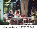 posh stylish girls enjoying... | Shutterstock . vector #1177962745