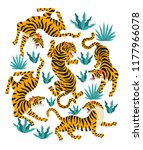 Stock vector vector set of tigers and tropical leaves trendy illustration 1177966078