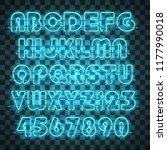 glowing blue neon alphabet with ...   Shutterstock .eps vector #1177990018