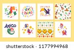 collection of cards with... | Shutterstock . vector #1177994968