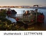 boat on lake monona and madison ... | Shutterstock . vector #1177997698