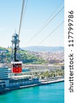 Cablecar over the port in Barcelona, Spain - stock photo