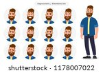 set of male facial different... | Shutterstock .eps vector #1178007022