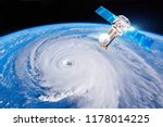 Research, probing, monitoring hurricane Florence. Satellite above the Earth makes measurements of the weather parameters. Elements of this image furnished by NASA