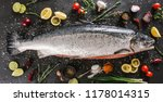 fresh raw salmon red fish with... | Shutterstock . vector #1178014315