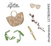 simple accessories flatlay  bag ... | Shutterstock .eps vector #1178054995