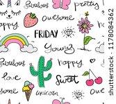 drawings like rainbow  unicorn  ... | Shutterstock .eps vector #1178084362