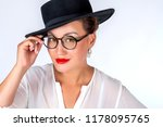 asian woman with glasses. a... | Shutterstock . vector #1178095765