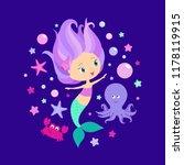 girl cute mermaid princess... | Shutterstock .eps vector #1178119915