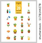 potted flowers icon set. money... | Shutterstock .eps vector #1178144278