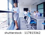 business woman  with her staff  ... | Shutterstock . vector #117815362