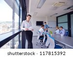 business woman  with her staff  ... | Shutterstock . vector #117815392