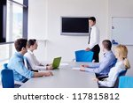 group of happy young  business... | Shutterstock . vector #117815812