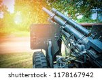 Old artillery cannon gun camouflage pattern / ordnance for soldier warrior in the world war in the park