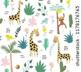 childish jungle texture with... | Shutterstock .eps vector #1178176765