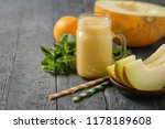 melon smoothies  yellow and... | Shutterstock . vector #1178189608