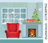 christmas interior in flat... | Shutterstock .eps vector #1178189962