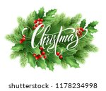 christmas lettering in holly...   Shutterstock .eps vector #1178234998