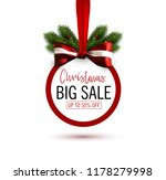 christmas sale sticker with bow ... | Shutterstock .eps vector #1178279998