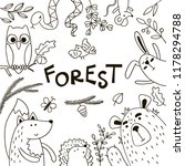 background with doodles forest... | Shutterstock .eps vector #1178294788