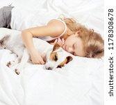 child sleeping with dog. girl... | Shutterstock . vector #1178308678