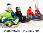 childhood  sledging and season... | Shutterstock . vector #1178339785